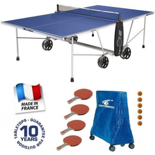 Cornilleau Crossover 100 outdoor kék kültéri időjárásálló ping pong asztal családi komplett kiegészítő felszerelés csomaggal - ingyenes házhozszállítással