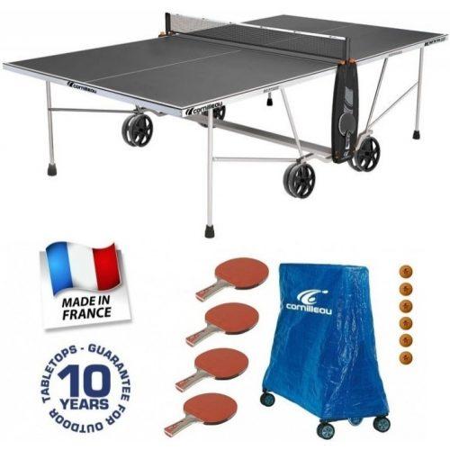 Cornilleau 100 S Crossover SZÜRKE ioutdoor dőjárásálló pingpong asztal családi kiegészítő csomaggal
