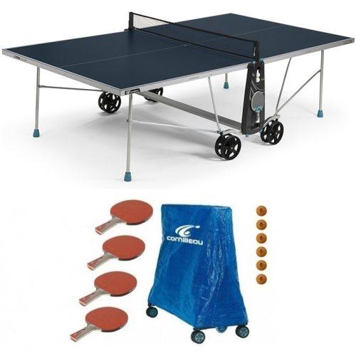 Cornilleau 100X Outdoor KÉK kültéri időjárásálló pingpong asztal családi komplett kiegészítő felszerelés csomaggal - Ingyenes házhozszállítással